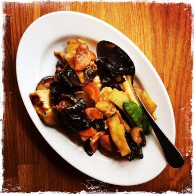 Tofu aux champignons noirs et pousses de bambou végane Végébowl